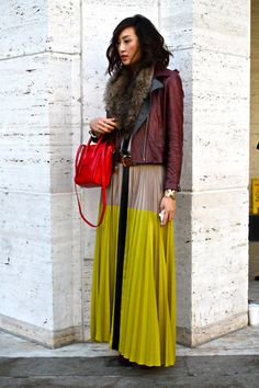 Maxi skirt, leather jacket