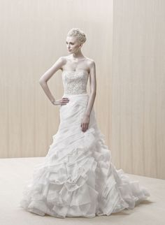 """""""Egypt"""" strapless organza A-line wedding dress with a beaded bodice and folded skirt, Blue By Enzoani"""