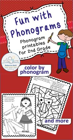 $ Phonogram sounds are reinforced as students name words with various sounds (6 pages) and color pictures according to the phonograms or sounds (4 pages). Answers are included.$