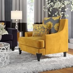 Yellow Living Room Chairs - Home Interior Design Ideas Living Room Grey, Living Room Chairs, Living Room Furniture, Living Room Decor, Furniture Decor, Dining Chairs, Elegant Home Decor, Elegant Homes, Home Interior