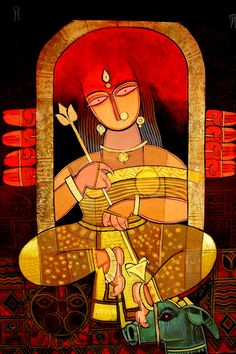 Indian Artwork, Indian Folk Art, Indian Art Paintings, Indian Artist, Oil Paintings, Abstract Paintings, Durga Maa Paintings, Durga Painting, Bengali Art