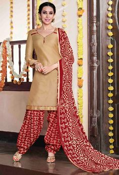 USD 30.25 Karisma Kapoor Beige Cotton Satin Punjabi Suit 47619