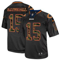 NFL Men's Elite Nike Chicago Bears #15 Brandon Marshall Camo Fashion Black Jersey $129.99