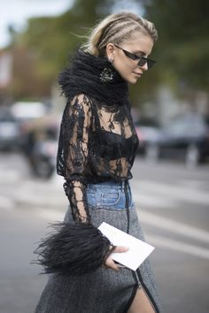 PARIS, FRANCE - SEPTEMBER 30: Caro Daur seen in the streets of Paris during the Paris Fashion Week on September 30, 2017 in Paris, France. (Photo by Timur Emek/Getty Images)
