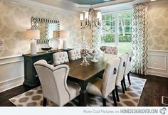 Stunning Transitional Dining Room Furniture Transitional Dining Room Design Ideas Remodels Photos With in Home Interior Design Reference Room Wallpaper Designs, Dining Room Wallpaper, Dining Room Wall Decor, Dining Room Sets, Dining Room Design, Dining Room Furniture, Dining Area, Dining Room Area Rug Ideas, Dining Room With Buffet