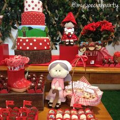 Little Red Riding Hood birthday party dessert table! See more party planning ideas at CatchMyParty.com!