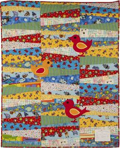 Scrappy Appliqued Birds quilt: New Hamburg Mennonite Relief Sale Cute Quilts, Scrappy Quilts, Baby Quilts, Make Blanket, Bird Quilt, Strip Quilts, Quilting Projects, Baby Ideas, Grandkids