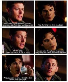haha Baby knows! #Destiel  (Ian Somerhalder) <I always thought of John Barrowman as baby. You know, so he can hit on dean and have cas glare him down.