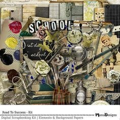 Scrapbook Kit Back To School Kindergarten School Kit Scrapbook Albums, Scrapbook Kit, Graduation Scrapbook, Personalized Bookmarks, School Kit, Borders For Paper, Jar Labels, School Themes, Old Paper