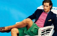 Blazer and shorts. Ivy Style, Men's Style, Style Men, Blazer And Shorts, Men's Shorts, Green Shorts, Summer Shorts, Summer Wear, Spring Summer