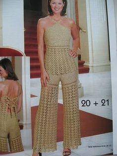 Graficos y Crochet: conjunto pantalon playero