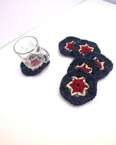 AMERICANA Crochet Coasters /Set of 6 / by SuninVIRGOCreations