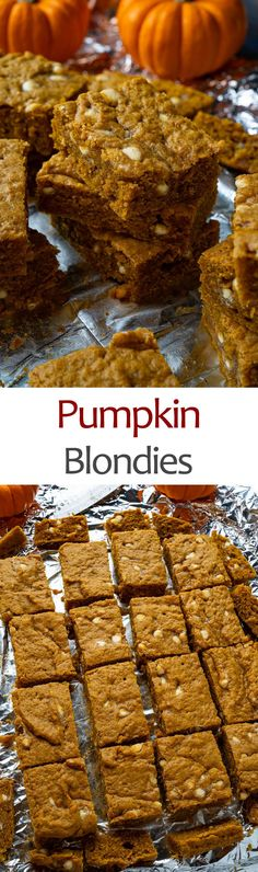 Pumpkin Blondies Easy Pumpkin Pie, Pumpkin Pie Bars, Pumpkin Recipes, Pumpkin Spice, Cocoa Chocolate, White Chocolate Chips, Chocolate Flavors, Fall Dessert Recipes, Fall Desserts