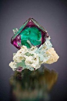 Fluorite and aquamarine