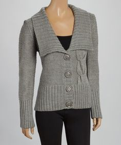 Gray Cable-Knit Ribbed Cardigan by Chaundry #zulilyfinds