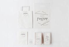 Toffee, logo, branding, packaging, white, negative space, minimal, typography, bag