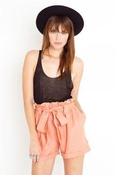 Peach Linen Shorts - StyleSays
