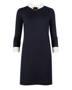 Contrast collar dress - Navy | Dresses | Ted Baker UK