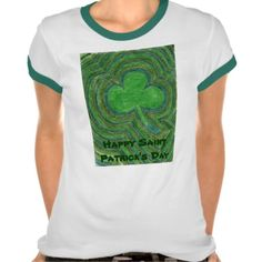 Happy Saint Patrick's Day Shamrock Shirt by Bearie23 Here is the Saint Patrick's Day shamrock shirt that features my crayon illustration of a shamrocks.  There is a misconception that shamrocks hav...