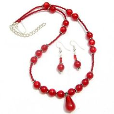 Lucite Necklace Earrings Set Ruby Red Beads Hand Beaded Jewelry  http://beachcatsbargains.ecrater.com/  beachcats bargains