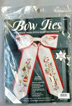 Seasons Greetings Santa Claus Counted Cross Stitch Kit Joan Marchie JCA Bow Ties