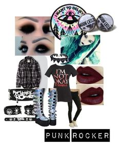 """""""Punk rocker"""" by gracie-miller-2005 ❤ liked on Polyvore featuring American Eagle Outfitters, Loungefly and Demonia"""