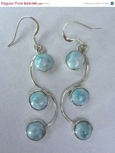 STOREWIDE SPRING SALE Genuine Larimar Earrings by SIMICOLLECTABLES