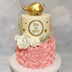 Gold Elephant Baby Shower Cake                                                                                                                                                      More