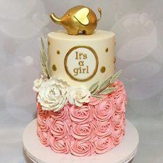 Gold Elephant Baby Shower Cake