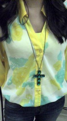 floral, estampa, brasil, print, flower, crucifixo, verde, acessorio, acessorios, accessories, camisa, amarelo
