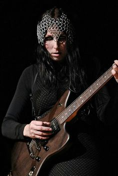Chelsea Wolfe wearing custom chainmail repro headpiece. 2013.
