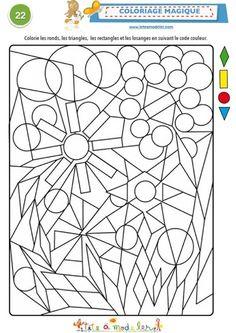 Magic Coloring Page: Geometric shapes. Kids Activity Books, Activity Sheets, Math Games, Preschool Activities, Visual Perception Activities, Preschool Math, Elementary Art, Colouring Pages, Geometric Shapes