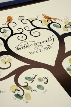 Guest Book Canvas, paint a tree with birds onto canvas, supply inks and pens and allow guests to add their fingerprints and signatures