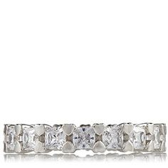 Diamonique 2.55ct tw Princess Cut Eternity Ring Sterling Silver