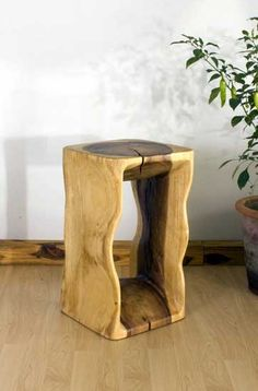 """Hand Carved Natural Stand or Stool  12"""" Sq x 20"""" H  Crafted from Eco-friendly sustainable wood resources and imported from Thailand. $199.00 USD"""