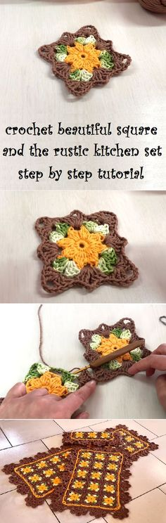 Crochet Beautiful Square and the Rustic Kitchen set using the square, step by step