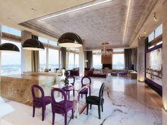 contemporary interior design penthouse by Oxana Yuryeva in Moscow Mid-century Interior, Apartment Interior, Interior Architecture, Interior Decorating, Floor Design, House Design, Diy Design, Design Ideas, Loft Stil