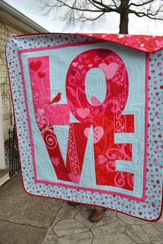 Handmade Quilt Modern Love Teal and Red by TrueloveQuiltsForYou