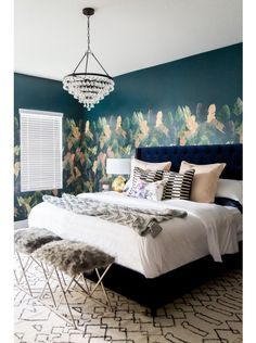 Midnight Tropic Wallpaper Mural by Cara Loren and Lulu & Georgia!A collaboration between L&G and Cara Loren, the Midnight Tropic Wallpaper Mural is inspired by sultry summer nights. The lush leaf pattern is permanent vacation vibes for your home. #landgathome
