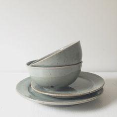Handmade Celadon Dinner Set- Stoneware Pottery Dinnerware- Sage Green Plates- Tabletop- Sage Green Bowl- Place Setting - Wedding Registry
