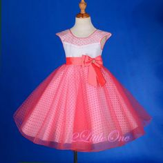 Polka Dot Pattern Tulle Dress Flower Girl Pageant Party Coral Toddler Sz 3T #243