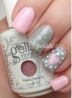 Pink & silver heart & polkadot gel nails