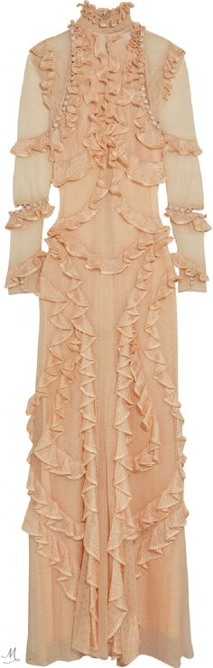 Peach silk Concealed zip fastening along back silk; lining: viscose Dry clean Made in Italy Silk Gown, Silk Chiffon, Peach Gown, Alexander Mcqueen, Cool Outfits, Style Inspiration, Gowns, Formal Dresses, Womens Fashion
