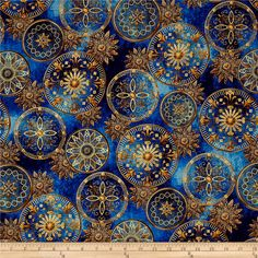 From Hoffman California International, this cotton print collection features astronomical prints with metallic accents perfect for any astronomer or star-gazer. Use for quilting, apparel, and home decor accents. Colors include shades of blue, golden tan, and metallic gold.