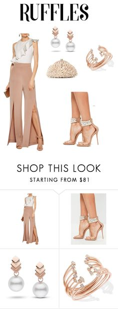 """""""Ruffles & Pearls"""" by njpryce ❤ liked on Polyvore featuring Cushnie Et Ochs, Missguided, Escalier, Kendra Scott and Santi"""