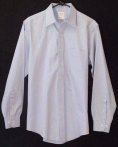 Brooks Brothers Dress Shirt Blue 15 4/5 Button Up Non Iron Long Sleeve