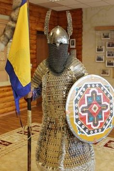 Reconstructed heavy armoured Turk Warrior of Novosibirsk , Turk Khanate Era