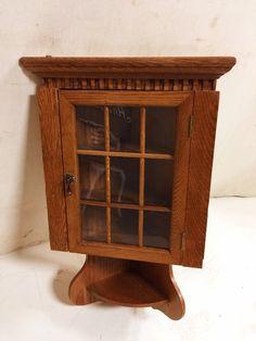Handmade Solid Oak Corner Wall Cabinet with Shelf $65