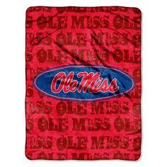 Mississippi Rebels NCAA Micro Raschel Blanket (Grunge Series) (46in x 60in)