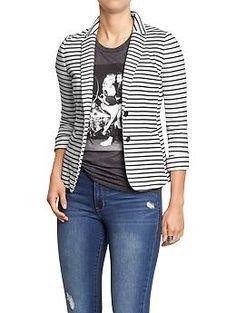 Women's Fitted Jersey white/black striped blazer - Old Navy Striped Blazer Outfit, Striped Jacket, Blazer Outfits, Jean Outfits, Casual Outfits, Cute Outfits, Estilo Fashion, Look Fashion, Autumn Fashion